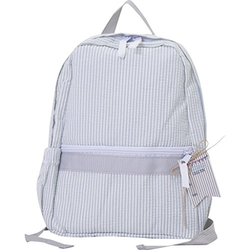 Grey Seersucker Mini Backpack Great for Preschoolers With or Without Monogram/Name