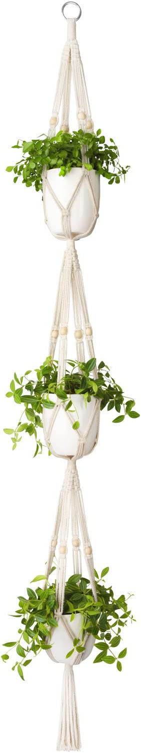 Mkono Macrame Plant Hanger 3 Tier Indoor Outdoor Hanging Planter Basket Cotton Rope with Beads 70 Inches