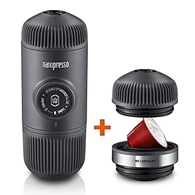 WACACO Nanopresso Portable Espresso Maker Combos, Upgrade Version of Minipresso, Compact Travel Coffee Maker, Manually Operated, Compatible with Nespresso Pods and Different Grounds