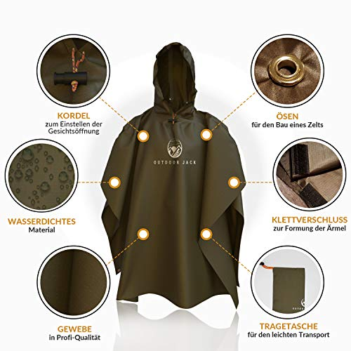Outdoor Jack Regenponcho Damen und Herren inklusive Tragetasche – Poncho 100% wasserdicht – Regenmantel hochwertig und…