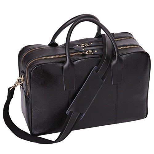 [Leathario Men's Shoulder Leather Laptop Briefcase Business Office Bag] (Tan Leather File Folder)