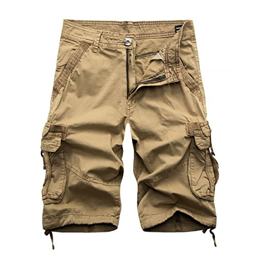 Big Bill Twill Work (HANYI Mens Military Camo Work Loose Knee Length Cargo Pants Shorts (Waist 35'', Classic Khaki))