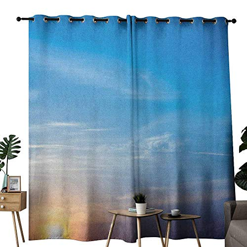 duommhome Yellow and Blue Novel Curtains Sunrise Blurry Sky Horizon in The Middle of Nowhere Serene View Privacy Protection W84 x L96 Lavender Blue Yellow