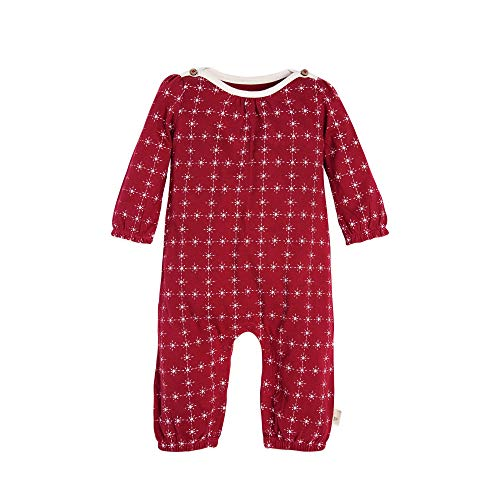 Burt's Bees Baby Baby Girl's Romper Jumpsuit, 100% Organic Cotton One-Piece Coverall, Cranberry North Star, 0-3 Months