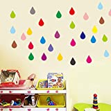 Ferris Store 100pcs Colorful Circles Raindrop PVC Wall Oval Decals Stickers For Baby Children Kid's Room 23.6x16.9''