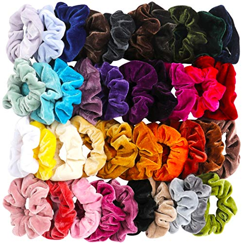 40 Pcs Hair Scrunchies Velvet Elastic Hair Bands Scrunchy Hair Ties Ropes Scrunchie for Women or Girls Hair Accessories…