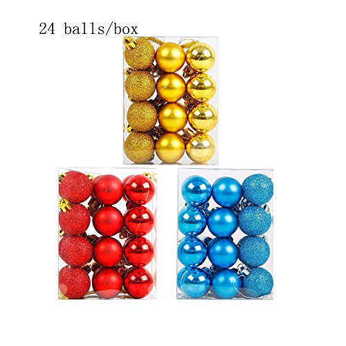 RICHEE-NL 3 Boxes Christmas Ball Ornaments Shatterproof Christmas Tree Decorations Light Blue+Red+Gold -