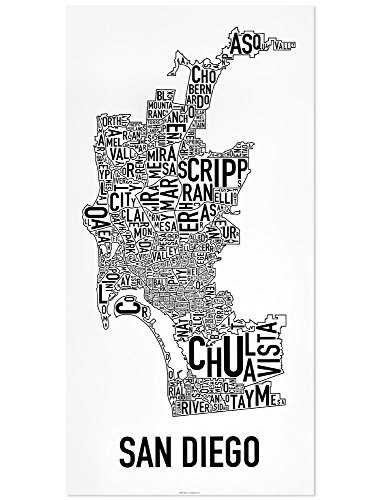 "San Diego Neighborhoods Map Poster, Black & White, 16"" x 32"""
