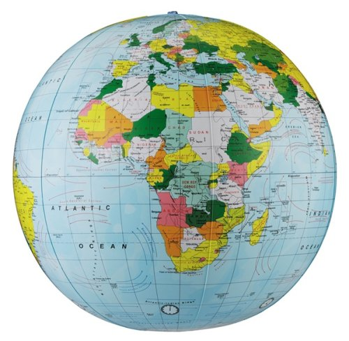 State Inflatable - Replogle Inflatable Globe, Political Globe, Light Blue, 24