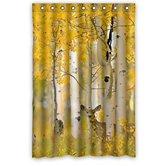 Amazon Popular 48 X 72 Inches Deer Pattern With Birch Trees Shower Curtain Modern Waterproof Bathroom Polyester Fabric For Decor