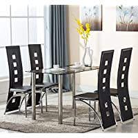 Eight24hours 5 Piece Glass Dining Table Set 4 Leather Chairs Kitchen Room Breakfast Furniture