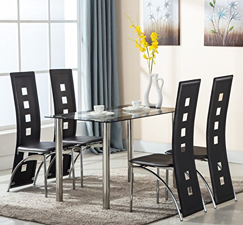 Eight24hours 5 Piece Glass Dining Table Set 4 Leather Chairs (4 Breakfast Glasses)