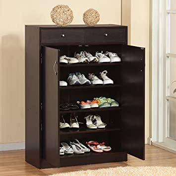 Amazon.com : Five Shelf Coffee Bean Finish Shoe Storage Cabinet ...