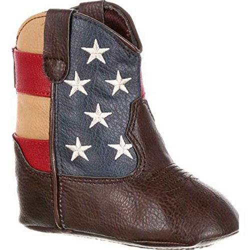 Durango Baby DBT0152 Western Boot, Brown/Union Flag, 18.M - Durango Girls Cowboy Boots