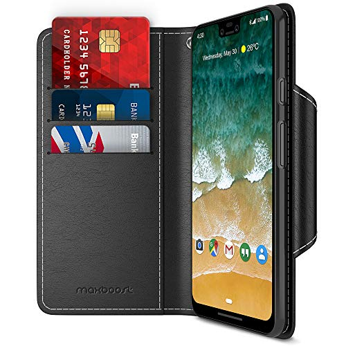 Maxboost Google Pixel 3 XL Case, [Folio Style] Wallet Case for Google Pixel 3 XL [Stand Feature] (Black) Protective PU Leather Flip Cover with Card Slot + Side Pocket Magnetic (MB000328)
