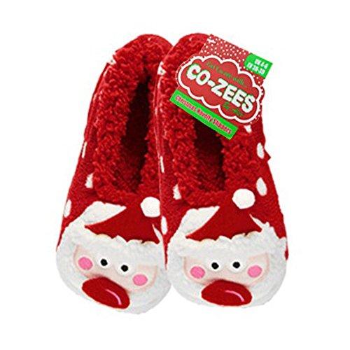 Co-Zees Women's Christmas 3D Cute Novelty Slippers Santa Spot