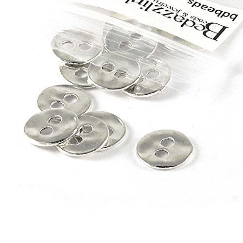 (20 Wavy 13mm Round Silver 2 Hole Buttons Or Textured Linking Charms)