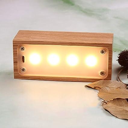 Lámpara de noche estilo rústico de madera LED luz de noche ...