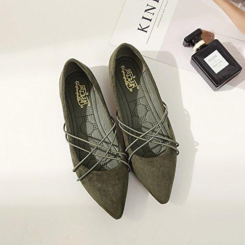 Xue Qiqi Simple sugerencia de Satén Calzado Plano Tira Transversal luz-Plana con Solo Zapatos Zapatos de Mujer El verde