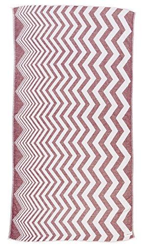 - Coronado Turkish Towel - Bath Beach Fouta Peshtemal - OEKO-TEX Certified - Zigzag design, Dual-layer Handloom Pestemal - 37X70 Inches, Burgundy ()