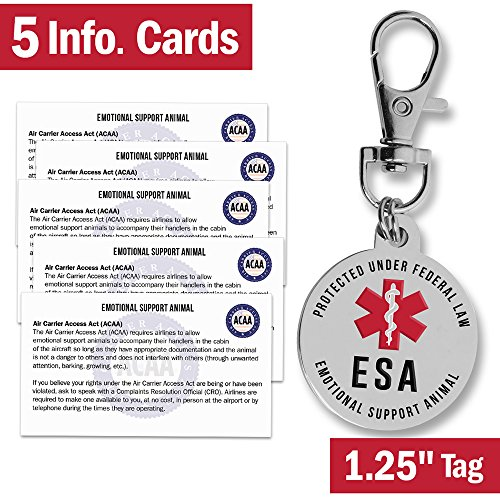 Emotional Support Dog Esa Tag   1 25    Premium Double Sided Medical Alert Symbol Pet Id Tags W  5 Information Cards   Working Service Animal Protected By Federal Law   Attach To Collar Harness Vest