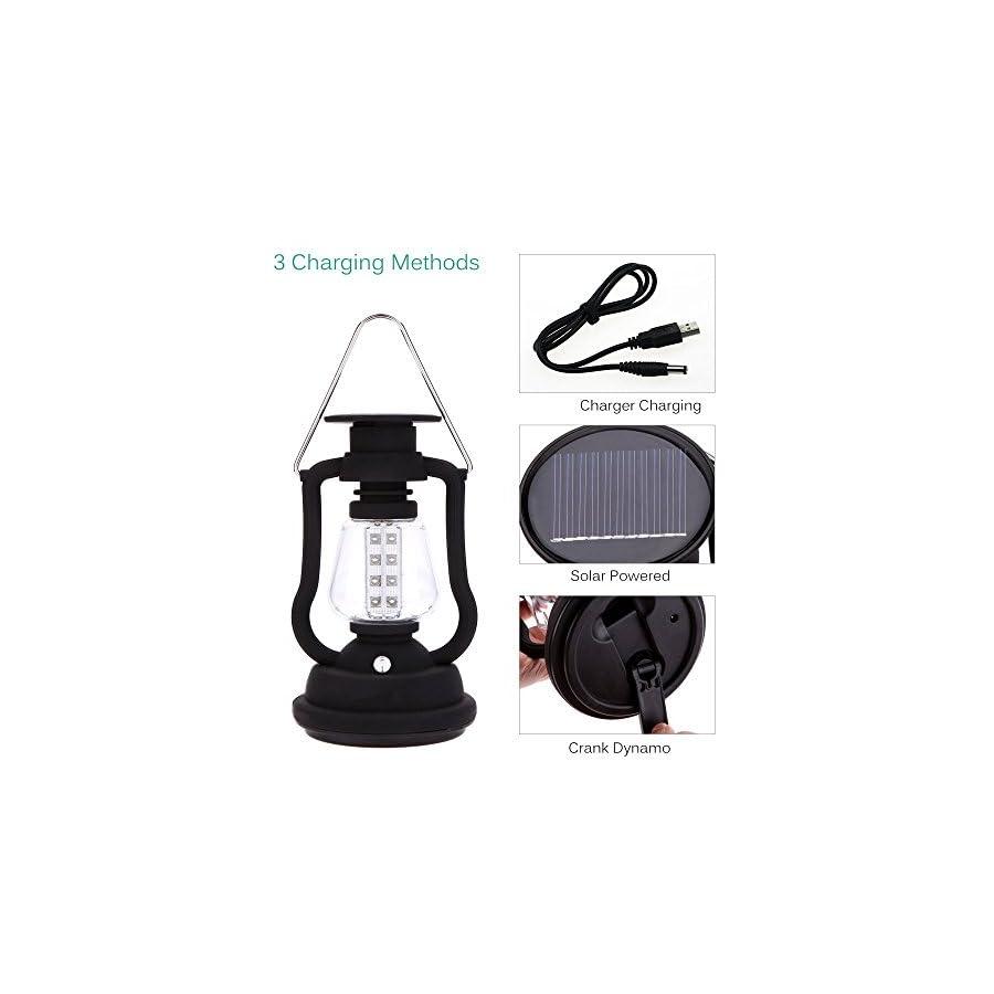 Security High Brightness Portable Outdoor Dynamo LED Solar Hand Crank light Lantern lamp Hiking Camping 16 LEDs