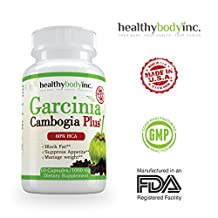 Pure 60% Garcinia Cambogia Plus No blend Fast Acting Capsules. All Natural Appetite Suppressant and Weight Loss Supplement by Healthy Body Inc
