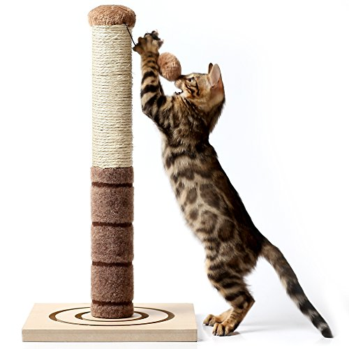 4 Paws Stuff Tall Cat Scratching Post - with Cat Interactive Toys - Cat Scratch Post for Cats and Kittens - Plush and Sisal Scratch Pole Cat Scratcher - 22 inches