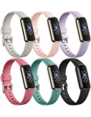 Maledan 6 Pack Bands Compatible with Fitbit Luxe Bands for Women Men, Soft Silicone Adjustable Waterproof Sport Band Replacement Strap Accessories Wristbands for Luxe Fitness Tracker