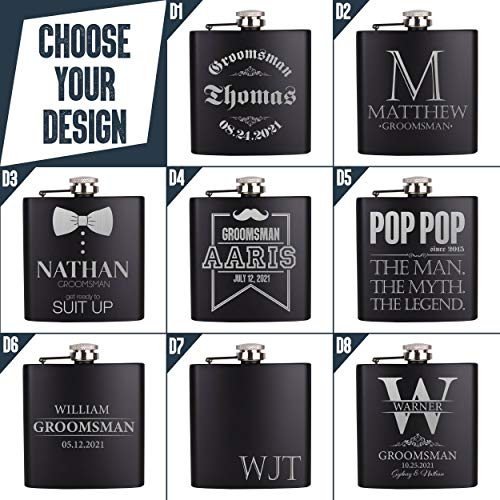 Personalizedgiftland Personalized Flask, Set Of 6 - Customized Flask Groomsmen Gifts For Wedding Favors, Personalized Groomsman gift - Stainless Steel Engraves Flasks w Gift Box Options - 6oz, Black by PersonalizedGiftLand (Image #2)