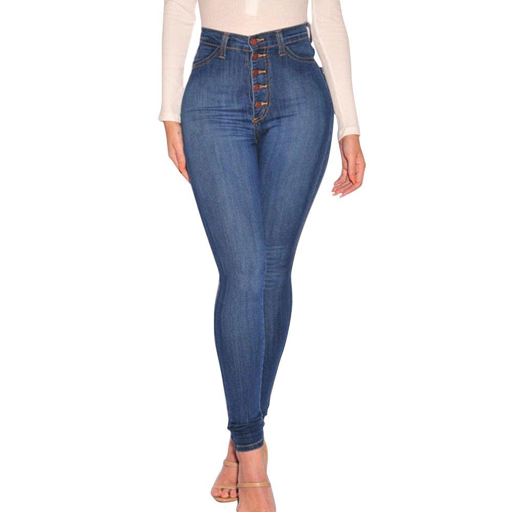 JCYK Women's High Waist Stretch Slim Jeans Pants Skinny (Navy blue 2L)