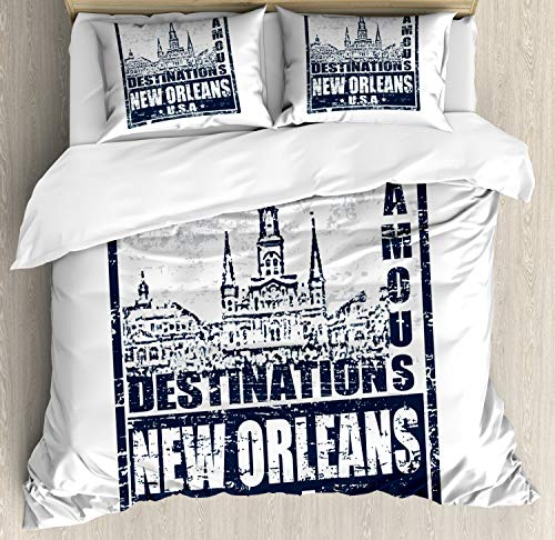 Ambesonne New Orleans Duvet Cover Set King Size, Famous Destinations in Louisiana State Architecture with Grunge Effect, Decorative 3 Piece Bedding Set with 2 Pillow Shams, Dark Blue and White