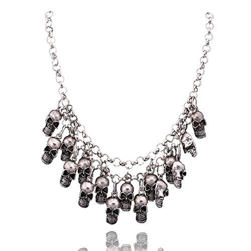 Cos2be Skeleton Skull Necklace Vintage Statement Necklace (Skull Ⅰ-Ancient Silver)