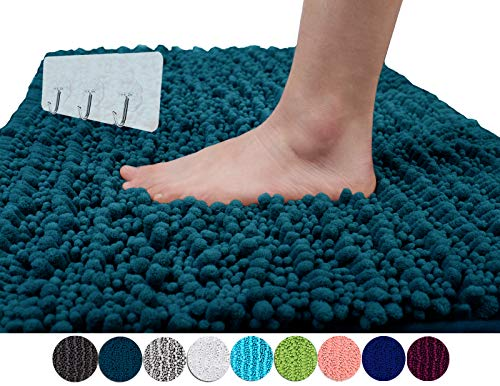Yimobra Original Luxury Shaggy Bath Mat Large Size 31.5 X 19.8 Inch Super Absorbent Water,Non-Slip,Machine-Washable,Soft and Cozy,Thick Modern for Bathroom,Floor,Peacock Blue (Presented 3 Pack Hooks)