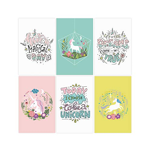 Set Of 6 11x17 Unicorn Wall Art Posters   Unicorn Room Decorations For Teen Girls   Unicorn Posters For Girl Nursery Decor   Teen Girl Bedroom Decor   Kids Wall Art   Baby Girl Wall Decor