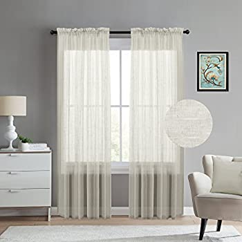 Linen Blended Sheer Window Curtains For Living Room Curtain Drapes 108  Inches Long Rod Pocket Window