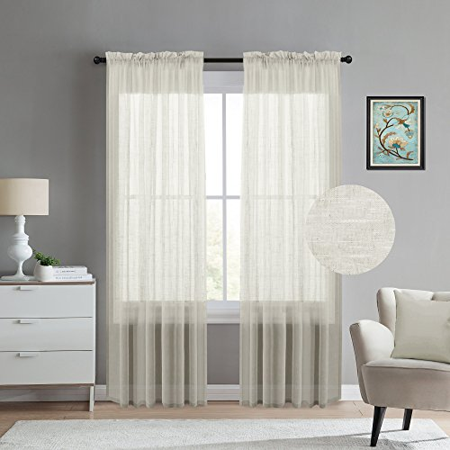Linen Blended Sheer Window Curtains for Living Room Curtain Drapes 108 inches Long Rod Pocket Window Treatment Set for Bedroom (2 Panels, Natural, Total Width 104 inches) (Rod Pocket Panel Set)