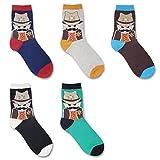 Men Premium Cotton Blend Colorful Patterned Dress Socks 5 Pairs offers