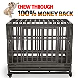KELIXU 38″ Heavy Duty Dog Crate Ultra-High Hardness Enhanced Steel Pet Kennel Playpen with Two Prevent Escape Lock, Large Dogs Cage with Four Wheels,Black