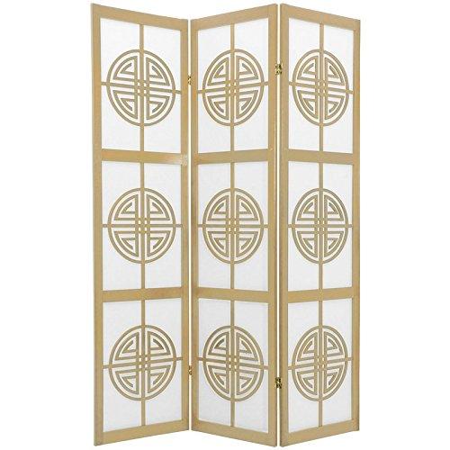 Oriental Furniture 6 ft. Tall Long Life Shoji Screen - 3 Panel - (3 Panel Folding Floor Screen)