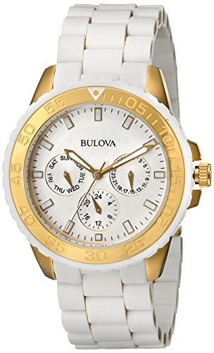 Bulova Women's 98N102 White Rubber Wrapped Stainless-Steel Bracelet Watch