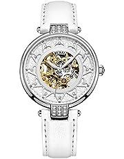 BUREI Damen Mechanische Automatikuhr Gold Skeletal Uhr mit Kratzresistenter Saphirglas und Lederband