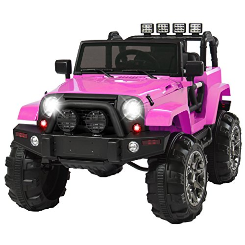 Best Choice Products 12V Ride On Car Truck W/ Remote Control, 3 Speeds, Spring Suspension, LED Lights Pink (Battery Kids 12 Volt Cars Powered)
