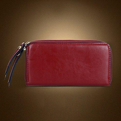 BYD - Mujeres Carteras de mano Set 4 in 1 Set Color puro Alta calidad PU cuero Mutil Function with 1 Purse and 1 Wallet Elegant Fashion School Bag Work Office Bag Rojo
