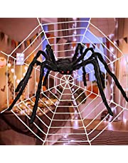 2.46Ft Large Spider Halloween Decorations with with 10.8ft Round Shape Large Spider Web for Indoor Outdoor Halloween Decorations Yard Home Costumes Parties Haunted House Decor