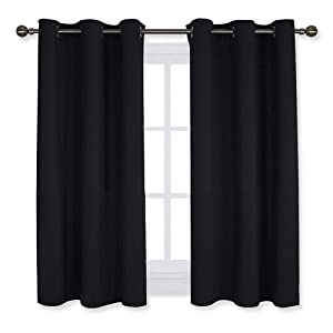 NICETOWN Living Room Blackout Curtains and Drapes, Black Solid Thermal Insulated Grommet Blackout Drapery Panels for Window (2 Panels,42 Inch Wide by 45 Inch Long,Black)