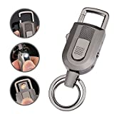 Keychain Flashlight with Windproof Flameless Electronic Cigarette Lighter and Bright LED Light, Lightweight and USB Rechargeable,Great Gift Ideals