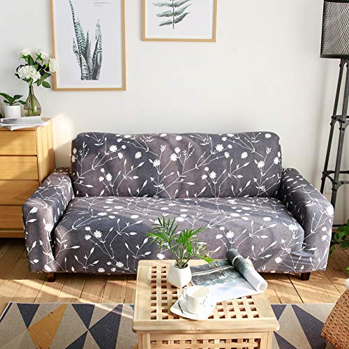 Ihoming Printed Stretch Sofa Slipcover Loveseat Slipcover Couch Slipcover with 2 Free Pillow Covers, 2/3/4/ Seat Sofa Covers(Sofa-4seat, White Flowers) (For Couch Slipcover Pillows With)
