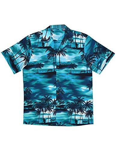 Robert J Clancey Ltd Hawaiian Blue Palms Camp Shirt, Moon Lit Surf and Palm Trees (Palm Tree Moon)