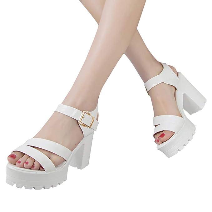 016751660 POLP Sandalias y Chancletas Zapatos de Plataforma Plana Costura Peep Toe Sandalias  de Cerrojo Playa Zapatos de Verano Sandalias con Plataforma para Mujer ...
